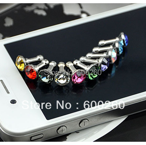 Luxury plugs Phone Accessories Small Diamond Rhinestone 3.5mm Anti Dust Plug capinha de celular Earphone Plug For i phone 4 5s 6