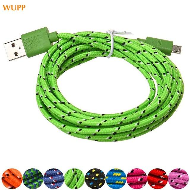 Universal 1 piezas 3 M/10 ft cuerda de cáñamo cargador Micro USB Cable de datos de sincronización para carga de teléfono celular Y USB de sincronización de datos Cable de 9 colores