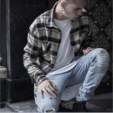 2017 hip-hop Männer Jeans masculinaCasual Denim distressed männer Slim Jeans hosen Marke Biker jeans dünne rock zerrissenen jeans homme