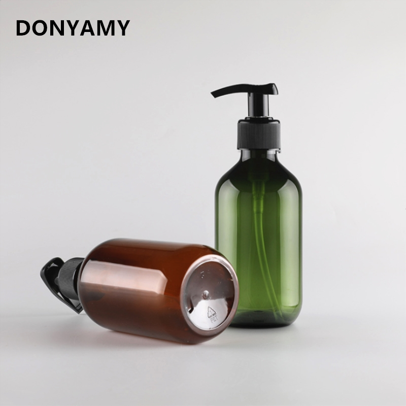 DONYAMY 1pc 300ml Round Shoulder Lotion Bottle PET Plastic Bottle Hand Soap Dispenser Liquid Soap Dispensers