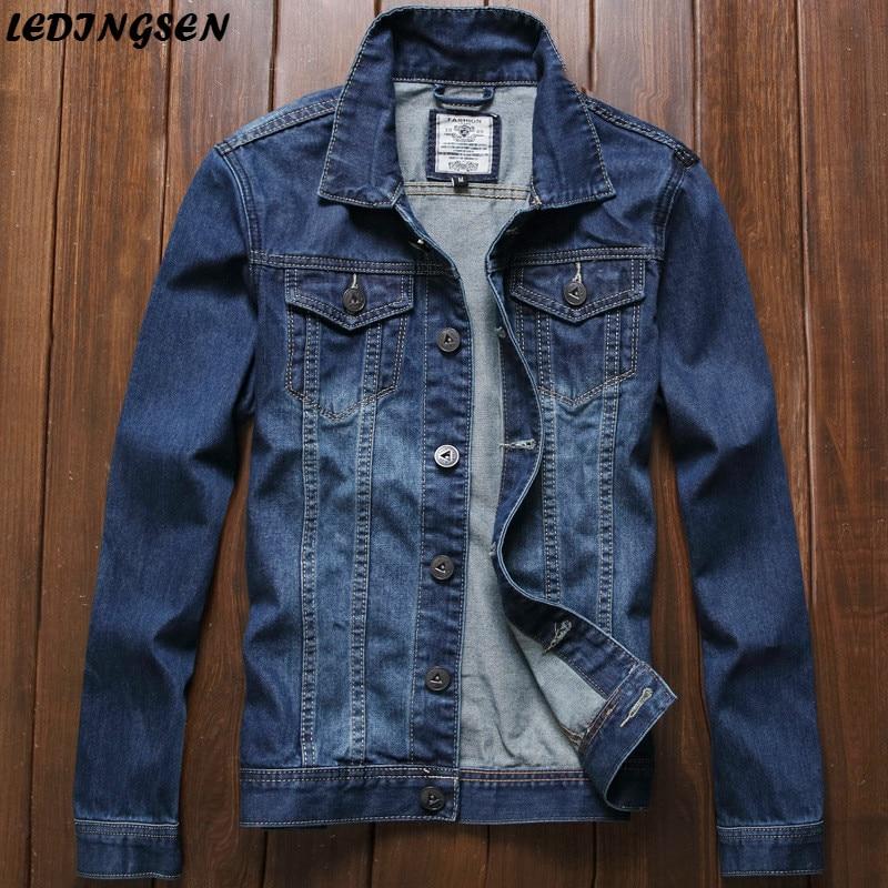 LEDINGSEN 2018 Spring Mens Blue Denim Jacket Fashion Cotton Skinny Fitness Jeans Jacket For Men Hiphop Streetwear Korean Style