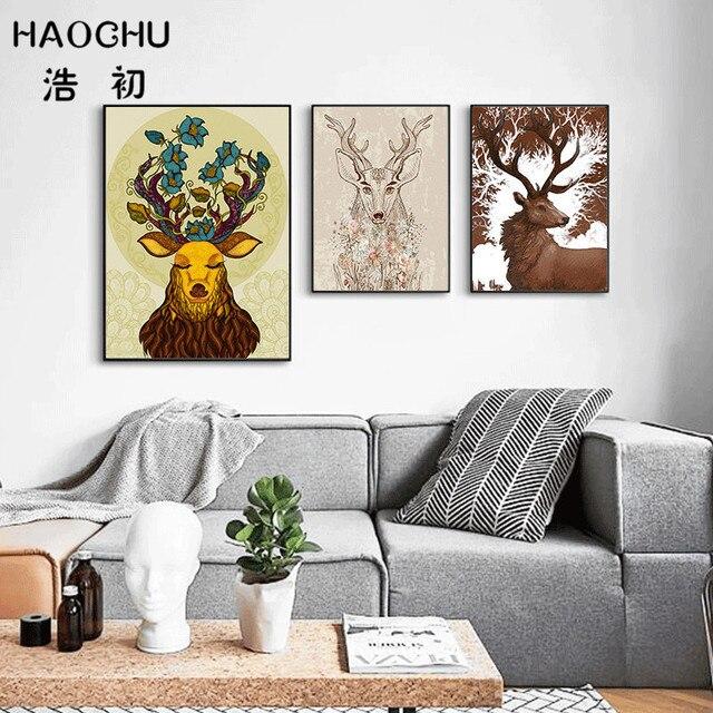 Online Shop HAOCHU Nordic Bos Herten Dier Canvas Schilderij Zwart ...