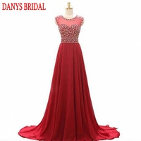 Red Luxury Long Evening Dresses Party Women A Line Crystal Beaded Formal Evening Gowns Dresses Wear robe de soiree longue