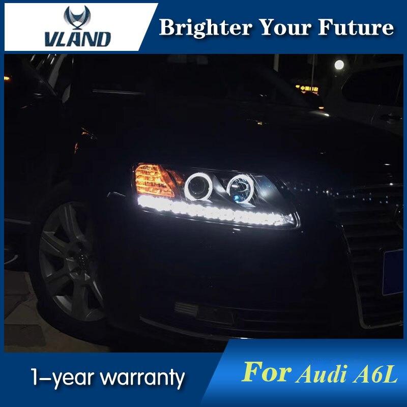 2Pcs For Audi A6L Headlights Double Angel Eyes 2005-2012 Head Lamp bi-xenon lens H7 D2H