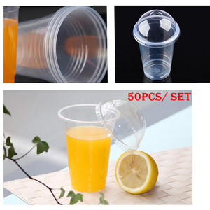 Image 5 - Wholesale 50 pcs / set Clear Disposable Plastic Tea Cup Coffee Cups with Lids  450ml for Iced Coffee Bubble Boba Smoothie