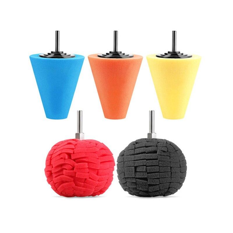 3Pcs Cone Sponge Pads And 2Pcs Ball Hub Polishing Wheel Buffing Car Beauty Waxing Car Polishing Pad Set Polishing Buffer Waxing
