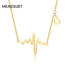 Heartbeat Necklace Heart Pendant With Gold Tone Stainless Steel Baby EKG Ecg Electrocardiogram Meaningful Gifts For Mom(China)
