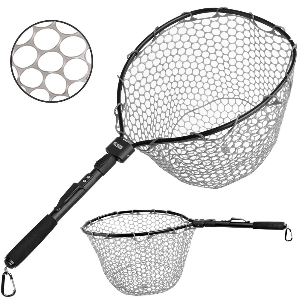 PLUSINNO Fly Fishing Net Fish Landing Net, Trout Bass Net Soft Rubber Mesh Catch and Release Net поводок для собак happy friends цвет синий ширина 1 4 см длина 1 20 м