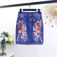 2019 Summer Woman Denim Skirt Flower Embroidered Pocket Fashion Blue Mini Ladies Skirt Casual Ladies A line Woman Skirt f36