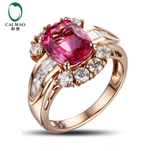 CaiMao 3.03ct Natural Pink Tourmaline & 1.18ct Diamond 18k Gold gemstone engagement ring Fine Jewelry