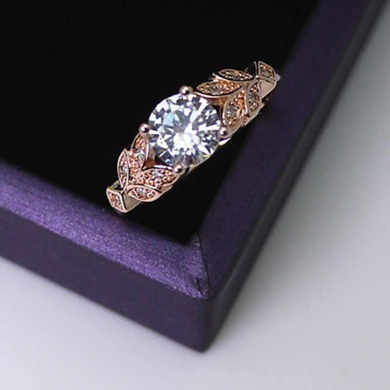 Bague forme feuille bague de mariage classique diamant bague de fiançailles pour femme amour bijoux W6