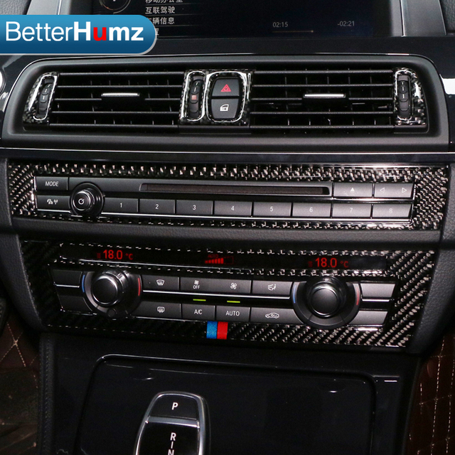 for bmw f10 5 series interior trim carbon fiber air conditioning cd control panel cover trim car. Black Bedroom Furniture Sets. Home Design Ideas