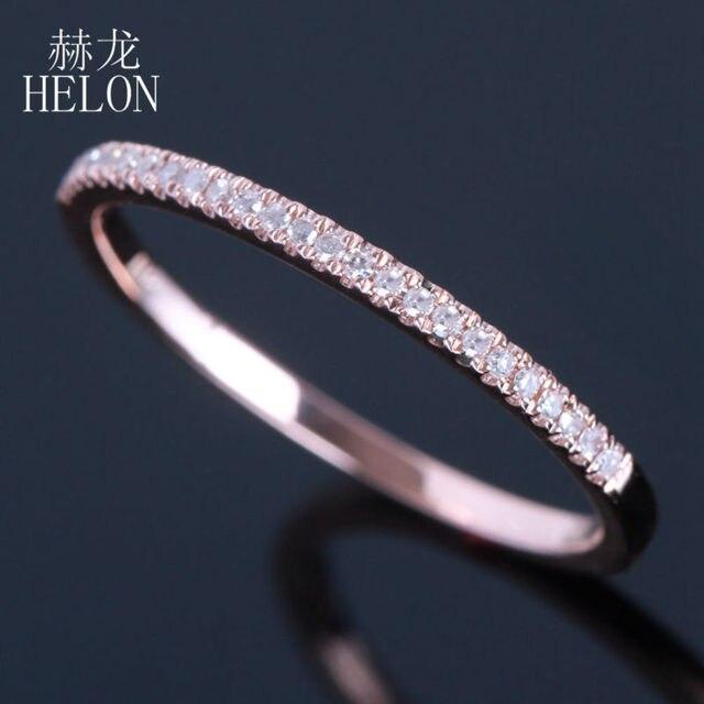 Helon Half Eternity Ring Solid 10k Rose Gold 0 1ct Natural Diamond Women Engagement Wedding Band