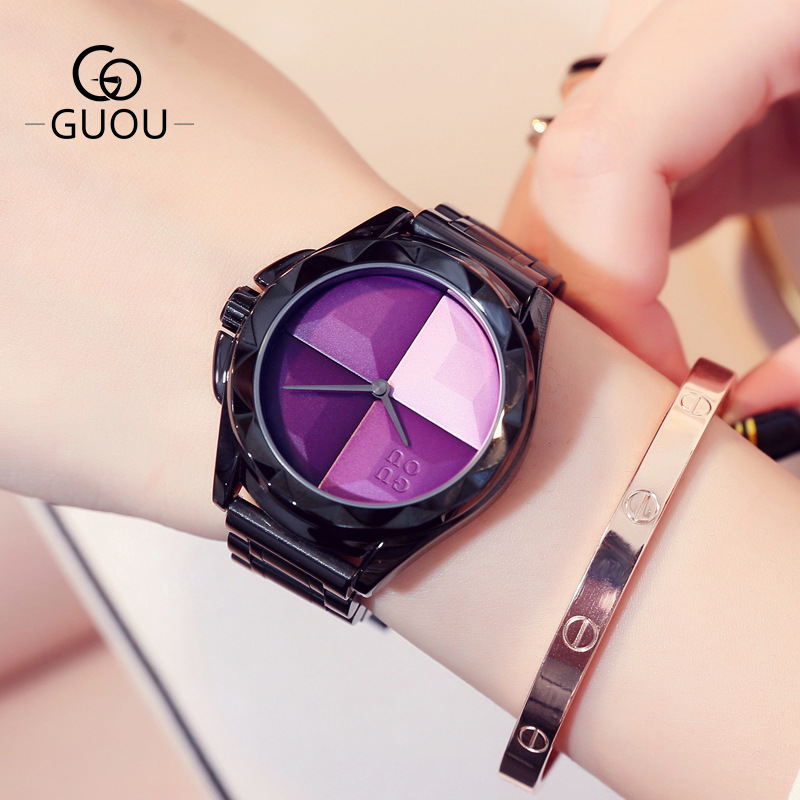 2018 Guou Luxury Brand Fashion Black Steel Simple Girl Gift Bracelet Watch Women Band Quartz-watch Ladies Wristwatch Reloj Mujer finished black el34 tube amplifier stereo hifi mini audio vacuum tube amp 8w 8w page 4