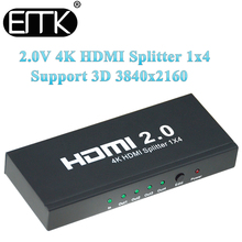 EMK 1×4 HDMI 2.0 4K Splitter 1 in 4 out Switch adapter with Power Supply Support 1080P 3D for DVD HDTV STB XBOX HDCP 60Hz PS4