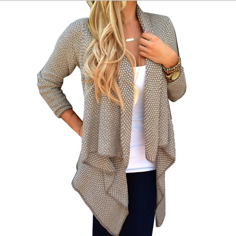 2017 knitted cardigan women long irregular casual waterfall ...