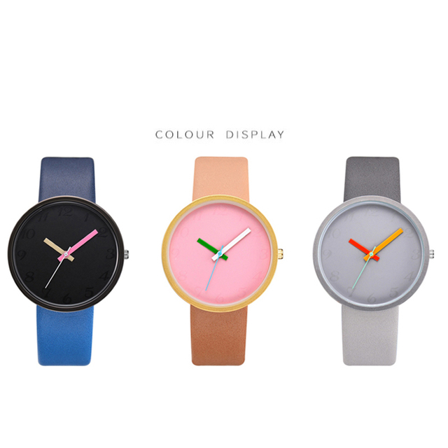 Women Watch Gray Contrast Leather Quartz Watch Women Watches Lovers Unisex Casual Ladies Wrist Watch Clock Relogio Feminino