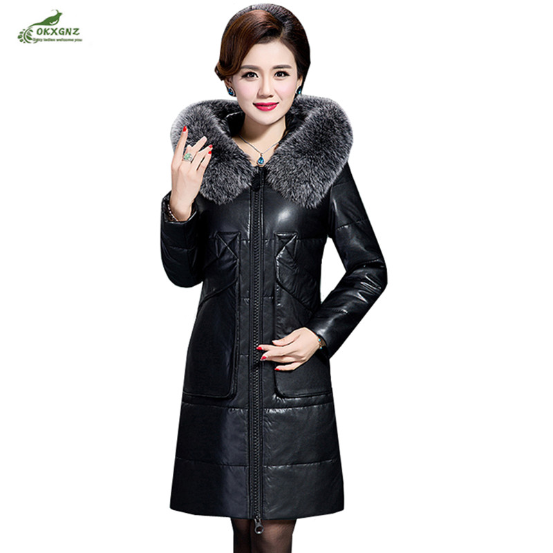 Parkas Winter fur coats female thick size 6XL loose Fur collar   leather   jacket long warm Outerwear 2018women's PU fur down jacket