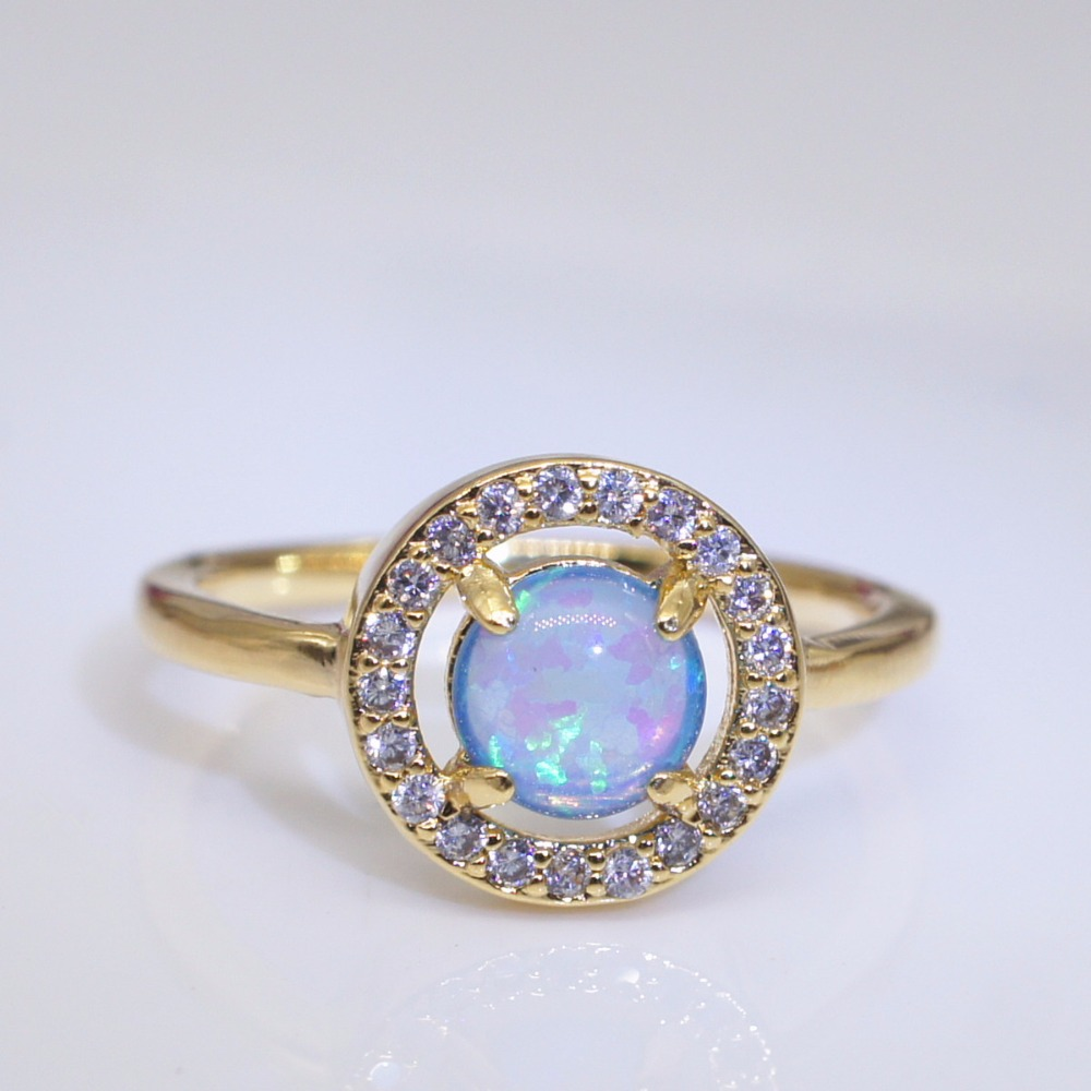 Luxury Stainless Steel gold color ring Silver Hand Jewelry Female Blue Stone Ring W K L