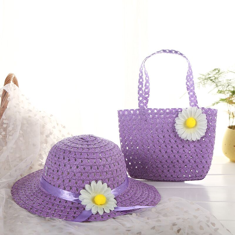 MAERSHEI Girls Kids Beach Hats Bags Flower Straw Hat Cap Tote Handbag Bag Suit Children Summer Sun Hat For 3-7 Years