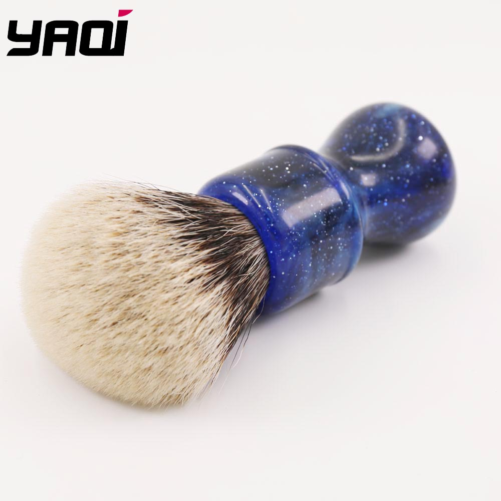 Купить с кэшбэком 24MM Yaqi Mysterious Space Color Handle Two Band Badger Hair Knot Men Shaving Brushes