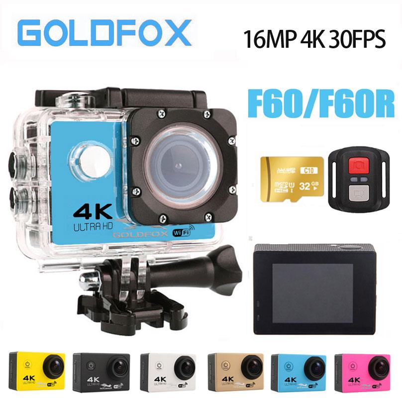 2018 100% nouvelle caméra d'action 4 k F60/F60R 1080 P/60fps 16MP WiFi 170D casque caméra de sport sous-marine Cam go pro étanche plongée