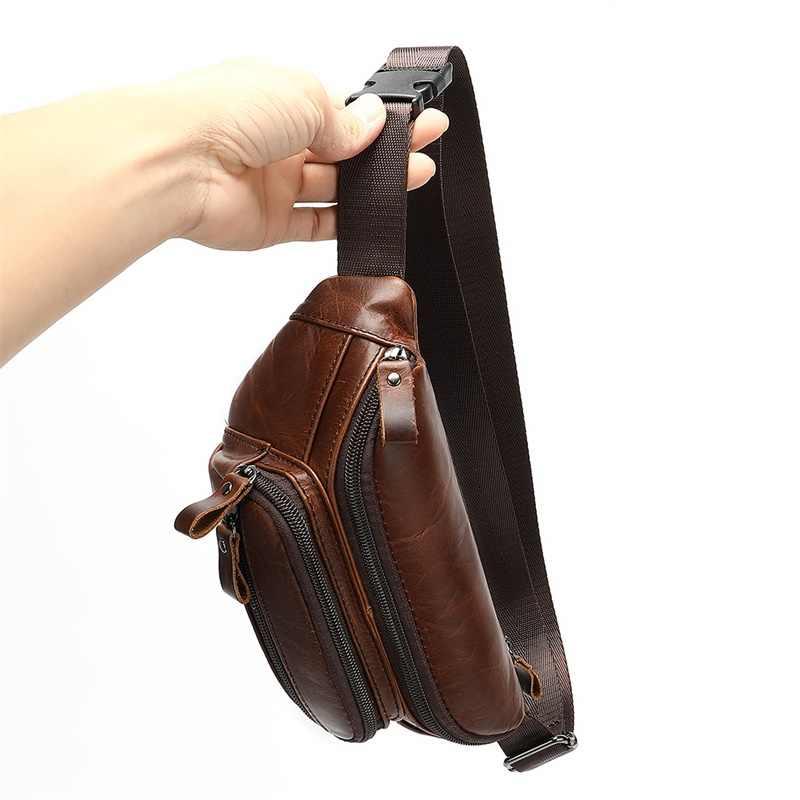 WESTAL 男性のファニーパック本革ウエストバッグベルト夏のメッセンジャー胸バッグメンズデザイナー電話ウエストバッグ