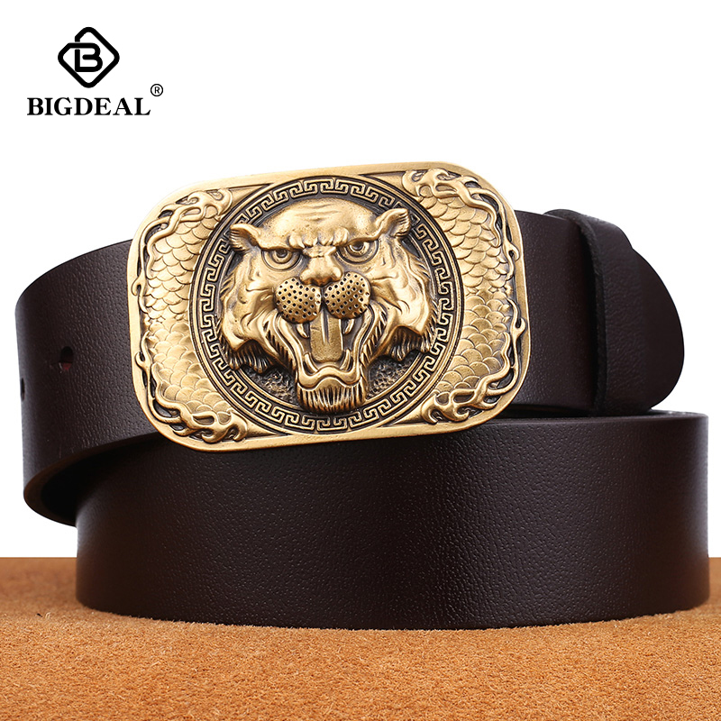 BIGDEAL 2019 Men Belt Cow Genuine Leather Luxury Strap Male Belts For Men New Fashion Classice Vintage Novelty Tiger Pattern