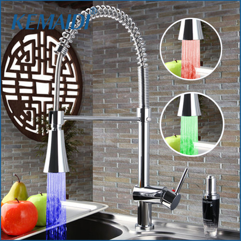 KEMAIDI LED Light Chrome Pull Out Down Spray Deck Mount Single Handle Wash Basin Sink Kitchen Torneira Cozinha Tap Mixer Faucet 8471 4 single handle cold stream deck mount single handles wash basin sink vessel kitchen torneira cozinha tap mixer faucet