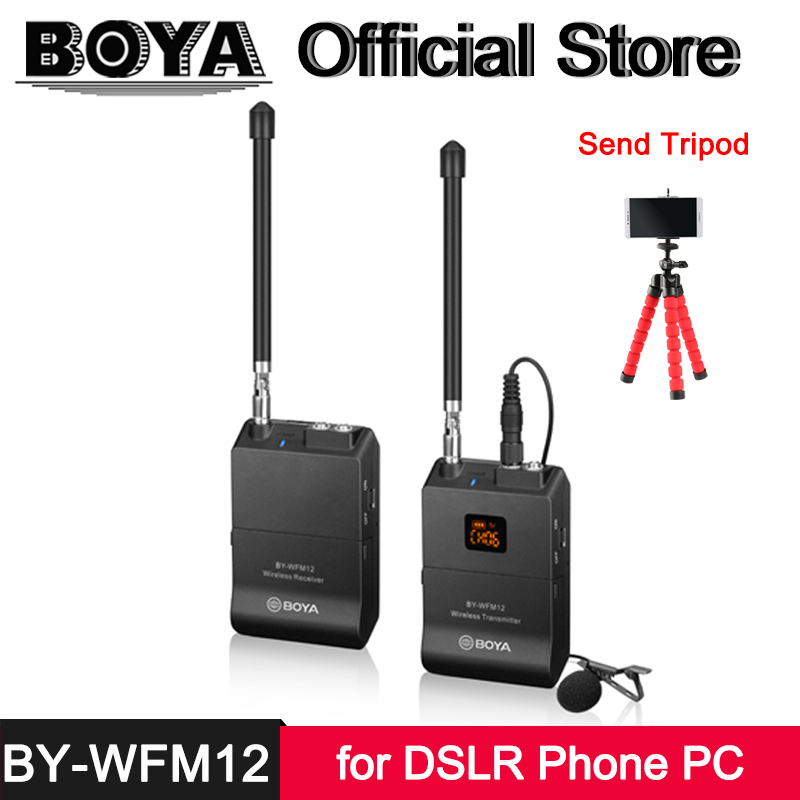 BOYA BY-WFM12 VHF Wireless Microphone System for iPhone Android Smartphone Canon Nikon Sony DSLR Camcorder Audio Recorders PC boya by wfm12