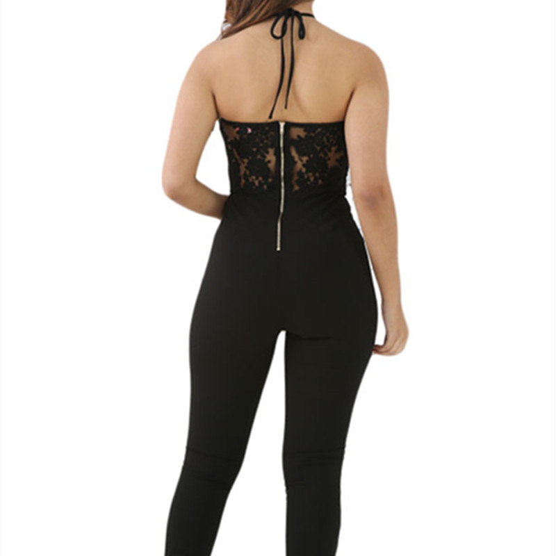 4c629bbf6814 Black White Sheer Lace Top Halter jumpsuit long feminino Sleeveless Lace  Top Halter Party jumpsuit Sexy Playsuit Sexy Jumpsuits-in Jumpsuits from  Women s ...
