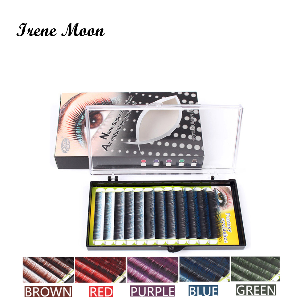 Mixed Size Double Colored Eyelash C Curl Human Hair Individual False Eyelashes  Extension Thickness0.15mm 7/9/11/13/14/15