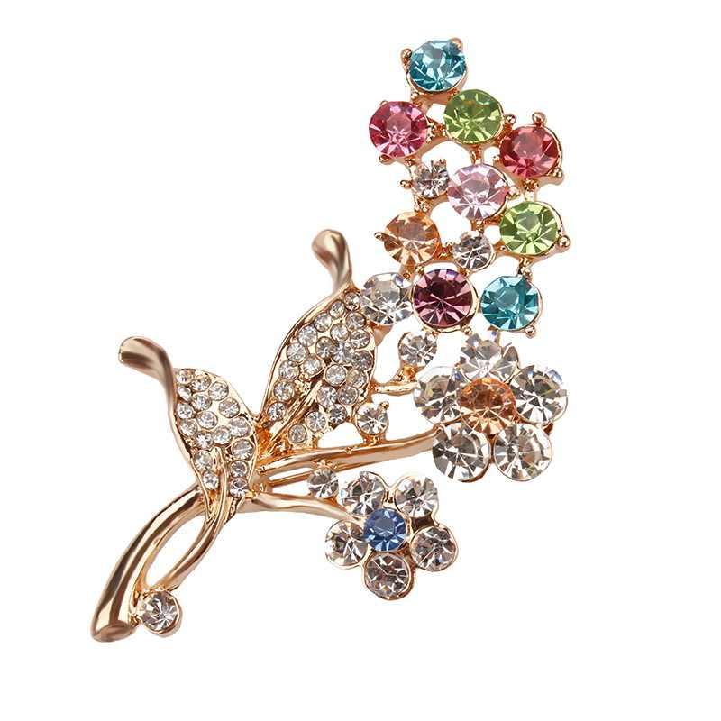 Warna-warni Yang Indah Kristal Berlian Imitasi Bunga dan Daun Fashion Tanaman Bros untuk Wanita