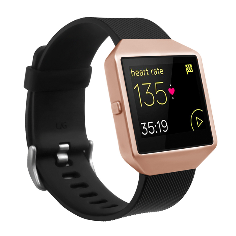 цена на Bemorcabo for Fitbit Blaze Band,Silicon Bracelet Replacement Strap with New Rose Gold Frame for Fitbit Blaze Smart Fitness Watch