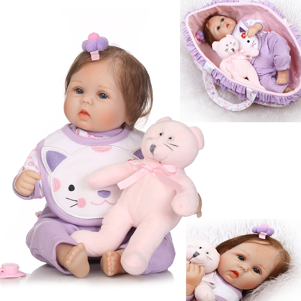 Bebe doll reborn 1840cm silicone reborn babies for child xmas gift with sleeping basket pink bear plush doll NPK Reborn bonecaBebe doll reborn 1840cm silicone reborn babies for child xmas gift with sleeping basket pink bear plush doll NPK Reborn boneca