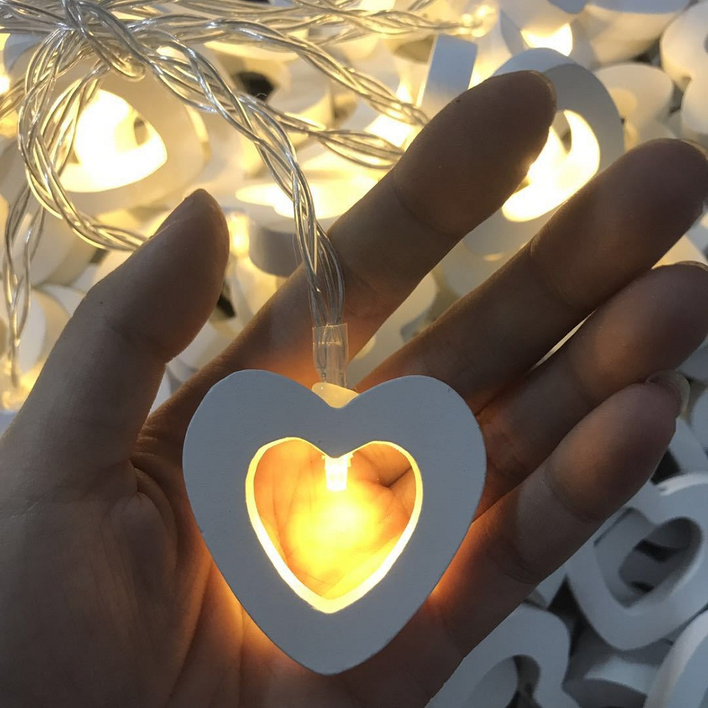 Wooden Heart LED String Lights 1M 10leds 2M 20leds Romantic Festival Lighting Christmas Birthday Wedding Party Decoration Lights