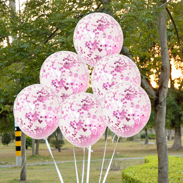 5pcs Inflatable Gold Confetti Balloon Ball Baby Shower 12inch Latex Clear birthday balloons Party Decorations Kids Party Favors