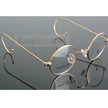 42 ミリメートル小型ヴィンテージラウンドアンティークワイヤーリム金属眼鏡フレームゴールドガンメタルフルリムメガネ近視rxできる
