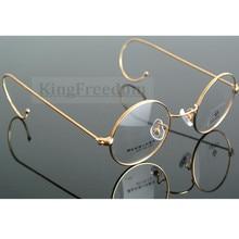 42 мм маленький размер, винтажное круглое антикварное украшение с проволокой, оправа для очков, металлическая оправа, золотистого цвета, полная оправа, очки для близорукости