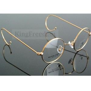 Image 1 - 42mm גודל קטן בציר עגול עתיק חוט רים מתכת משקפיים מסגרות זהב Gunmetal שפה מלאה משקפיים קוצר ראיה Rx מסוגל