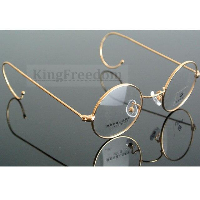42mm גודל קטן בציר עגול עתיק חוט רים מתכת משקפיים מסגרות זהב Gunmetal שפה מלאה משקפיים קוצר ראיה Rx מסוגל