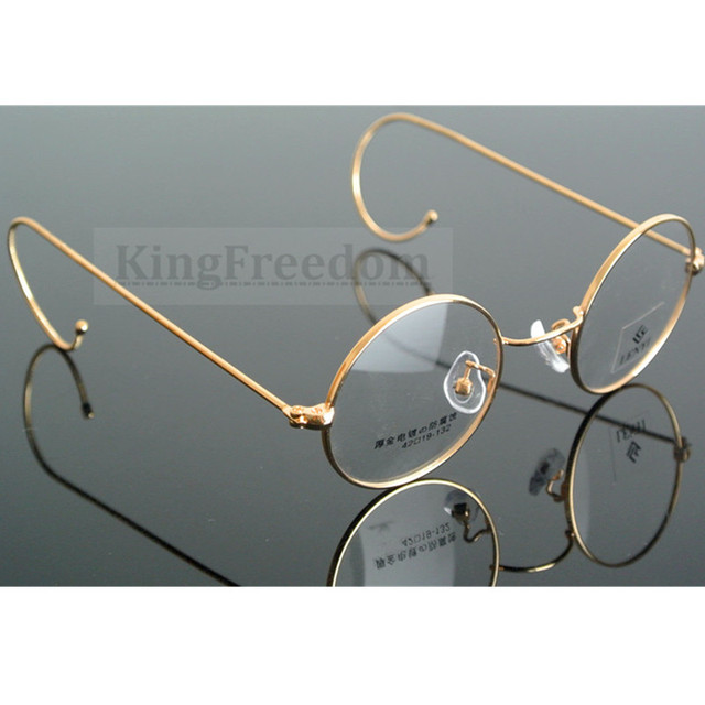 2f106e17eb6 42mm small size Vintage Round Antique Wire Rim Metal Eyeglass Frames Gold  Gunmetal Full Rim Glasses myopia Rx able