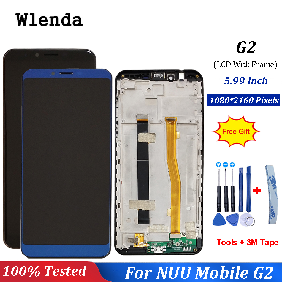 For NUU Mobile G2 LCD Display and Touch Screen With Frame Assembly Replacement With Tools For NUU Mobile G2