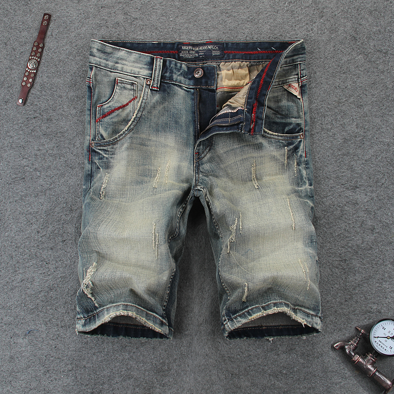 High Quality Grey Short Jeans Men Original Brand Shorts 29-38 Men`s Short Jeans Ripped Knee Length Hole Shorts 110