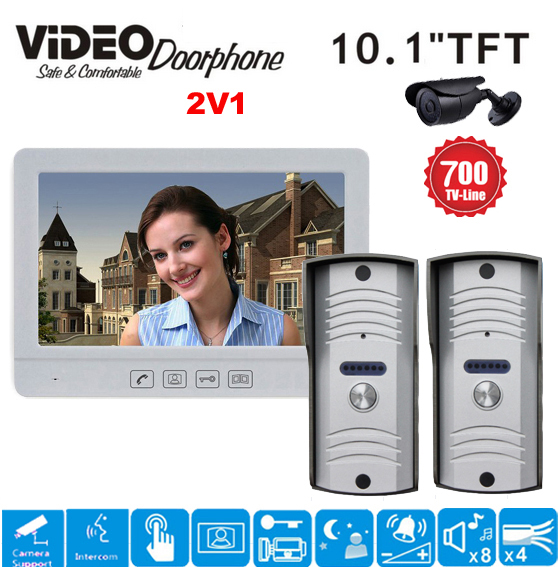ZHUDELE Home security system 10.1 Luxury Video Door Phone Touch Button Doorbell Intercom support CCTV camera IR HD Camera 2V1