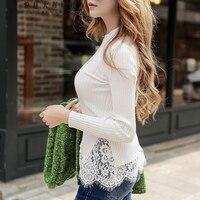 original 2017 winter new long sleeve plus size elegant fashion lace round neck warm white sweater for women wholesale