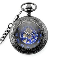 Retro flip hollow necklace watch women's watches black quartz men's watch pocket watch