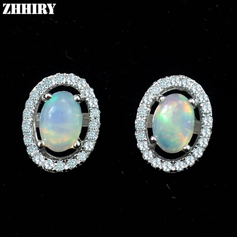 ZHHIRY Natural Fire Opal Earrings Genuine Gem Stone Solid ...