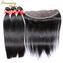 13 4 Lace Frontal Closure With Bundles 4pcs Lot 7A Unprocessed Brazilian Virgin Hair Silky Straight