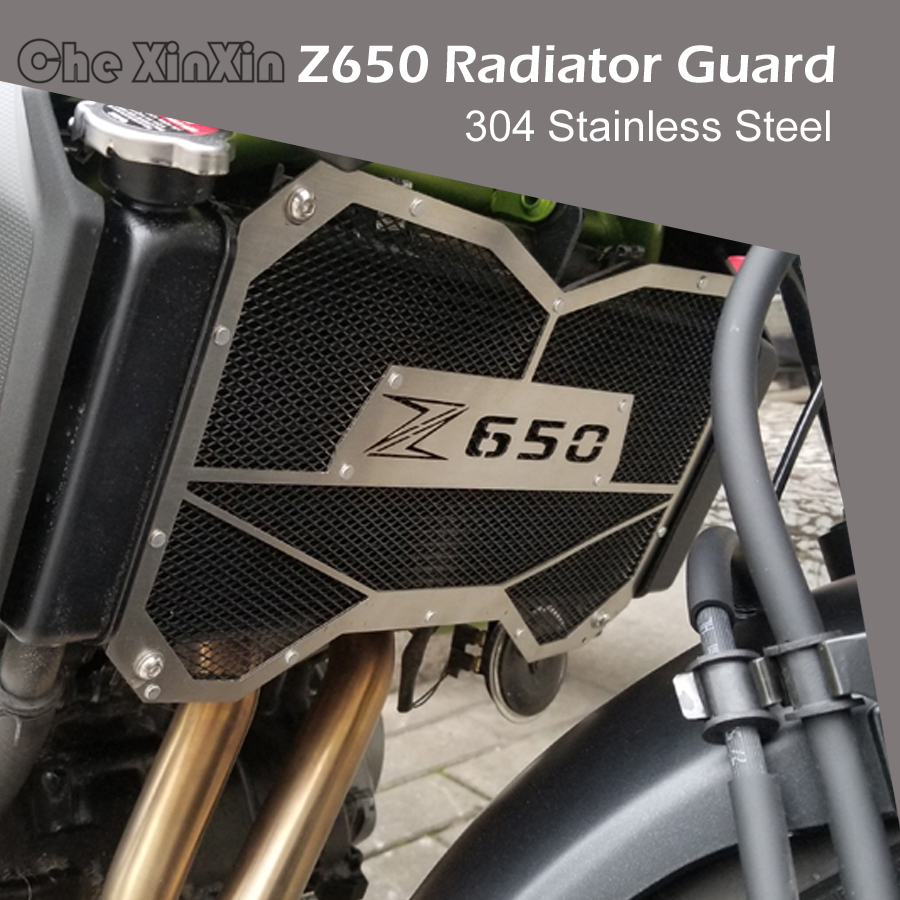 For Kawasaki Z650 Z 650 2017 Motorbike radiator grille guard protectionWater tank guard Black Green Color